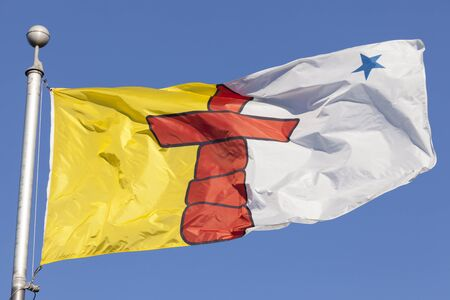 National flag of the Nunavut province in Canada Banco de Imagens