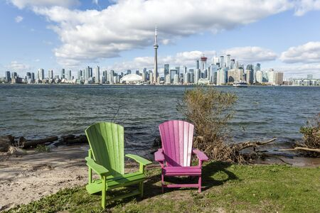 Skyline of Toronto downtown from the Centre Island. Province of Ontario, Canada