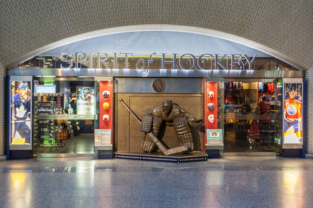 Toronto, Canada - Oct 21, 2017: The hockey hall of fame in Toronto. The hall of fame is dedicated to the history of ice hockey.