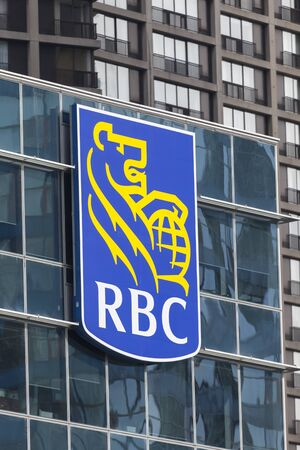 Toronto, Canada - Oct 21, 2017: RBC - Royal Bank of Canada logo on the head office building in Toronto, Canada