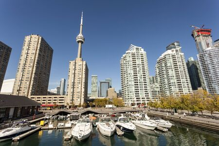 Yachts and boats in the marina downtown of Toronto, Canada
