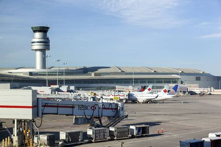 Toronto, Canada - Oct 22, 2017: Air Canada and rouge airplanes at the Toronto Pearson International Airport, Canada Editorial