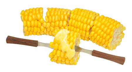 handled: Cooked corn on the cob with melting butter, cut into portions with small wooden handled forks, isolated on a white background