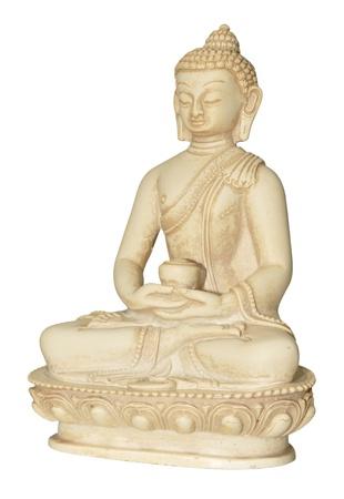 awakened: A simple Buddha statue isolated on a white background Stock Photo