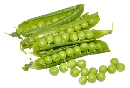 Freshly picked green garden peas in their pods isolated on a white background  photo