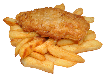 A portion of traditional fish and chips isolated on a white background photo