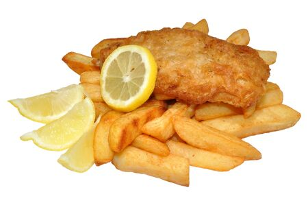 A portion of fish and chips with lemon, isolated on a white background