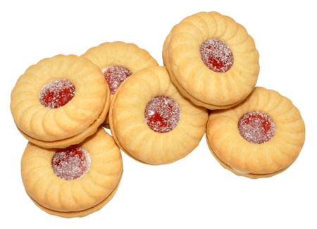 dodgers: Sweet jam filled biscuits, isolated on a white background