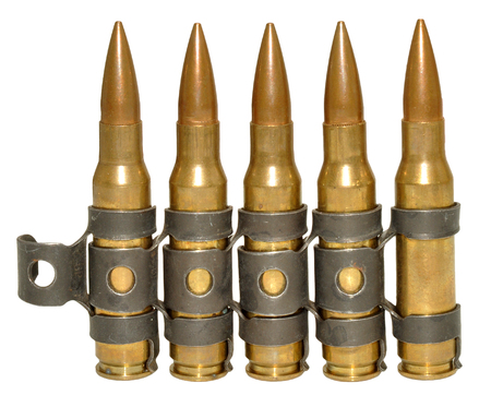 calibre: Five rounds of 303 calibre bullets, isolated