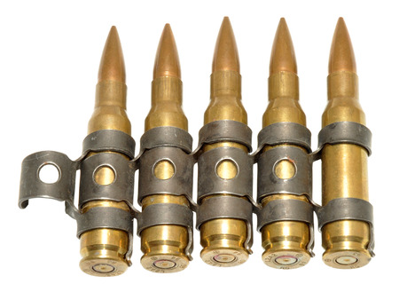 calibre: Five rounds of 303 calibre bullets, isolated on a white background