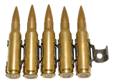 calibre: Five rounds of 303 calibre bullets, isolated Stock Photo