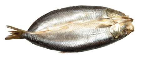 kipper: A whole smoked Manx style split kipper, isolated on a white background  Stock Photo