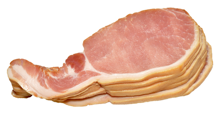 Pile of raw uncooked back bacon rashers, isolated on a white background