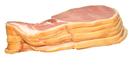 uncooked bacon: Pile of raw uncooked back bacon rashers, isolated on a white background