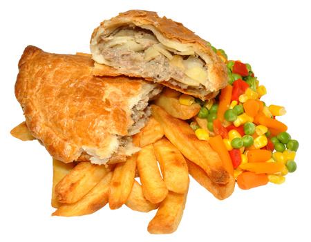 Cornish pasty and chips with mixed vegetables, isolated on a white background  photo