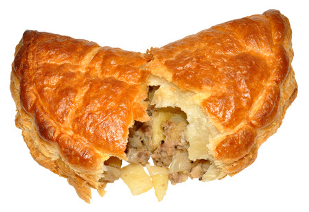 A single Cornish pasty, isolated on a white background