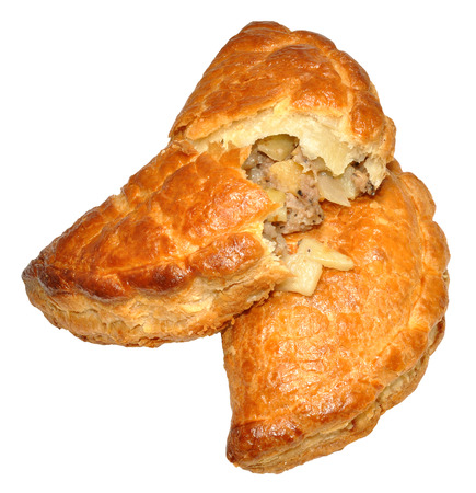 pasty: Two traditional Cornish pasties, isolated on a white background