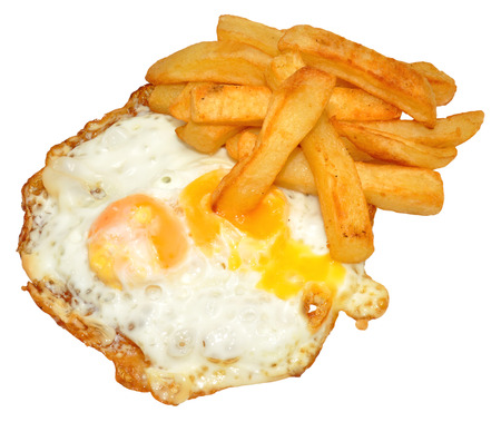 runny: Fried eggs with runny yolk and chips, isolated on a white background   Stock Photo