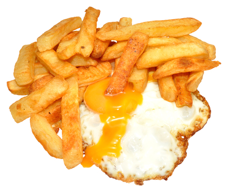 Fried egg with runny yolk and chips, isolated on a white background   photo