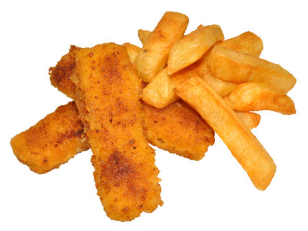 Cooked breaded fish fingers and chips, isolated on a white background  photo