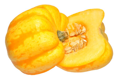 squash vegetable: A yellow squash vegetable, cut in half showing seeds inside, isolated on a white, background