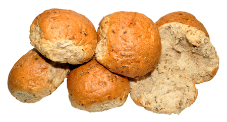 crusty: Crusty wholemeal bread rolls, isolated on a white background
