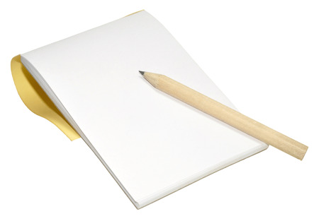 A wooden pencil and plain note pad, isolated on a white background Archivio Fotografico