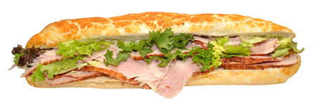 A roast ham baguette sandwich with lettuce, isolated on a white background  photo