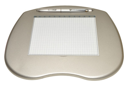 stylus pen: A computer graphics tablet with stylus pen, isolated on a white background