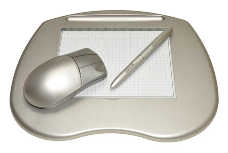 stylus pen: A computer graphics tablet with stylus pen and wireless mouse, isolated on a white background