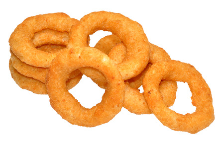 Battered golden fried onion rings, isolated on a white background photo