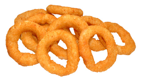 Battered golden fried onion rings, isolated on a white background