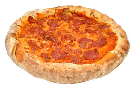 A whole spicy pepperoni pizza isolated on a white  photo
