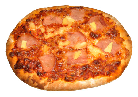 A whole stone baked ham and pineapple pizza, isolated on a white background   photo