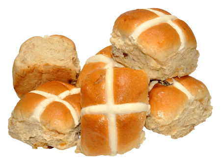 Traditional Easter hot cross buns, isolated on a white