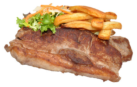 sirloin steak: Sirloin steak and chips with salad, isolated on a white background