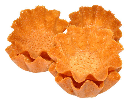 casings: Sweet brandy snap basket dessert casings, isolated on a white