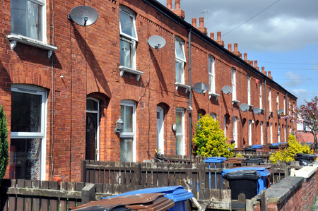 Row of traditional northern English red brick terraced houses  photo