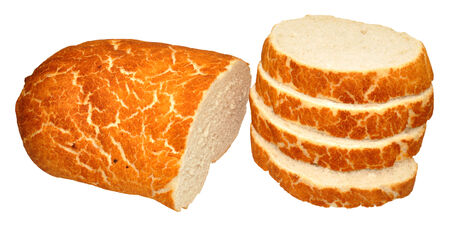 bloomer: Crusty tiger bread bloomer loaf partially sliced, isolated on a white background
