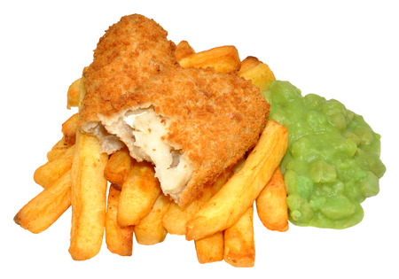 Portion of bread crumb coated fish and chips with mushy peas, isolated on a white background  photo