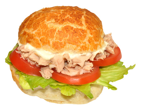 tuna mayo: Single tuna fish sandwich roll with lettuce and tomato, isolated on a white background  Stock Photo