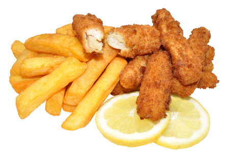 Bread coated fish goujons and fried chips, isolated on a white background