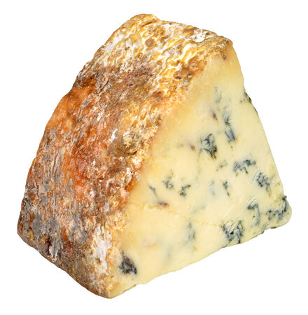 stilton: Traditional blue stilton cheese with blue veins and rind, isolated on a white background Stock Photo