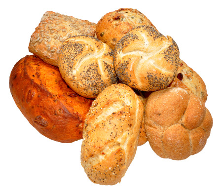 specialised: Selection of specialised bread products, isolated on a white background
