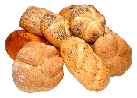 Selection of specialised bread products, isolated on a white background  photo