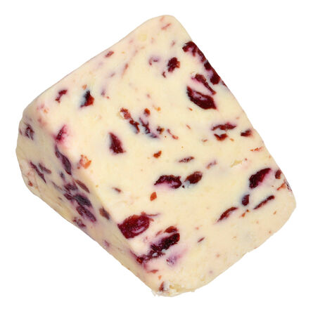 wensleydale: Wedge of Wensleydale and cranberry cheese, isolated on a white background