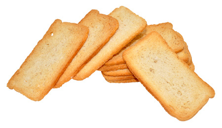 Stack Of Crispy Melba Toast Isolated On A White Background Stock Photo