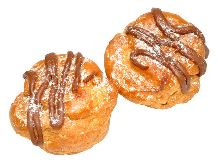 choux bun: Fresh cream chocolate choux pastry buns, isolated on a white background