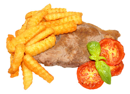 sirloin steak: Sirloin steak and chips with grilled tomatoes and basil herb garnish