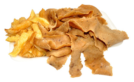 Portion of doner meat and chips take away, isolated on a white background